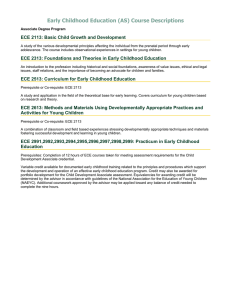 Early Childhood Education (AS) Course Descriptions