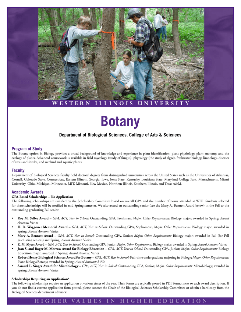 Botany W E S T E R N I    Department of Biological Sciences