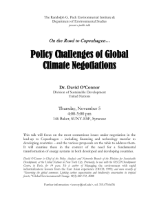 Policy Challenges of Global Climate Negotiations On the Road to Copenhagen…