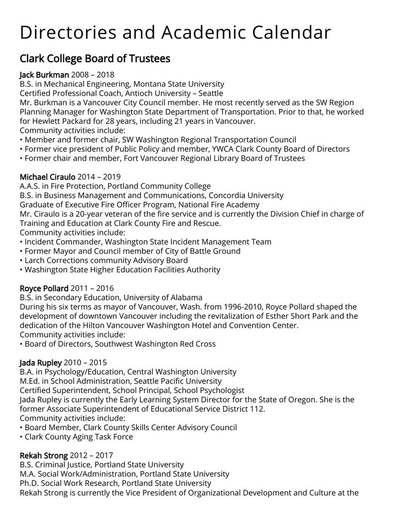 Portland State University Calendar.Directories And Academic Calendar Clark College Board Of Trustees