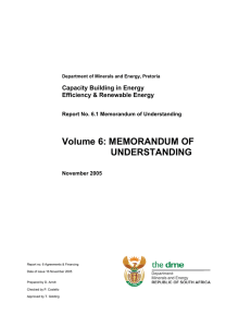 Volume 6: MEMORANDUM OF UNDERSTANDING Capacity Building in Energy Efficiency & Renewable Energy