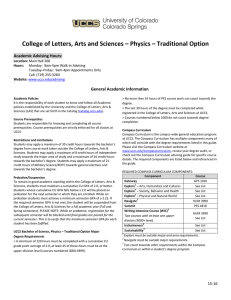 College of Letters, Arts and Sciences – Physics – Traditional... Academic Advising Hours: General Academic Information