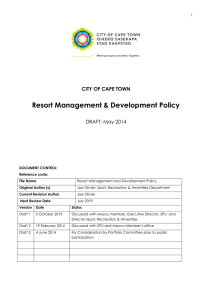 Resort Management & Development Policy CITY OF CAPE TOWN DRAFT: May 2014