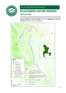 BLAAUWBERG NATURE RESERVE Hiking trail map CITY OF CAPE TOWN NATURE RESERVES