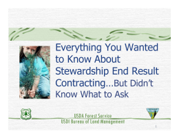 Everything You Wanted to Know About Stewardship End Result Contracting…