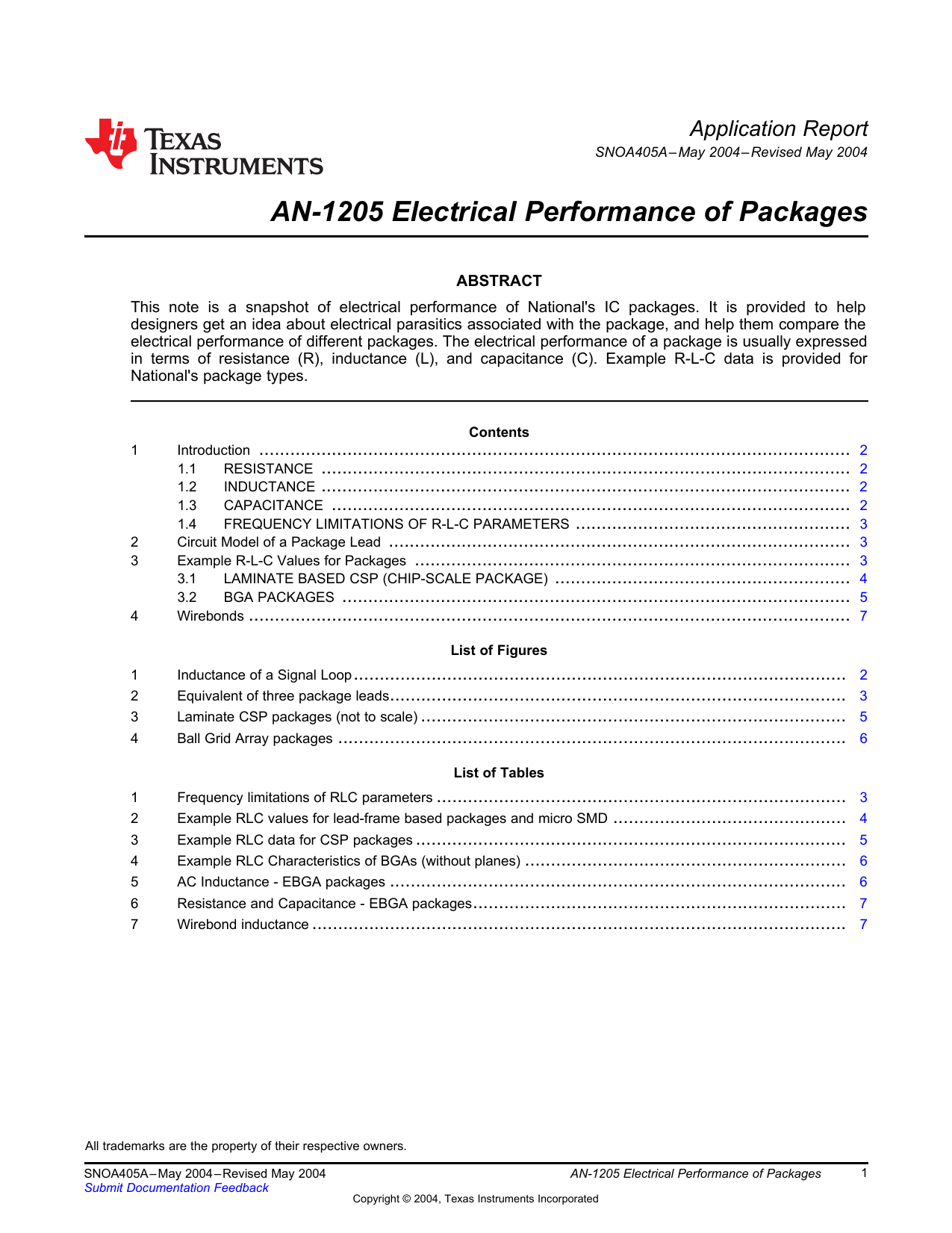 An 1205 Electrical Performance Of Packages Application Report Ac Inductance In Circuit