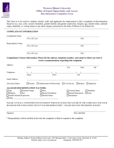 Western Illinois University Office of Equal Opportunity and Access Discrimination Complaint Form
