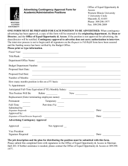 Advertising Contingency Approval Form for Academic/Administrative Positions
