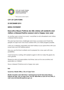 Executive Mayor Patricia de Lille wishes all residents and