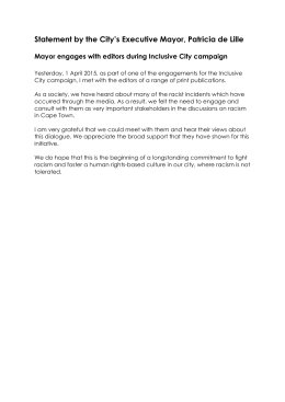 Statement by the City's Executive Mayor, Patricia de Lille