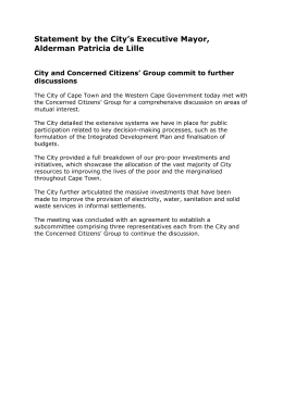 Statement by the City's Executive Mayor, Alderman Patricia de Lille