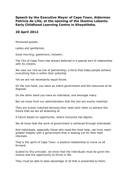 Speech by the Executive Mayor of Cape Town, Alderman