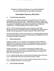 SUMMARY OF DARLENE HOOLEY'S ACCOMPLISHMENTS ENVIRONMENT & NATURAL RESOURCES The Wu-Hooley Amendment