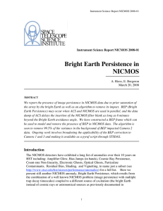 Bright Earth Persistence in NICMOS