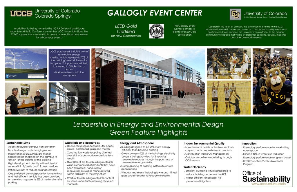 Gallogly Event Center Leed Gold
