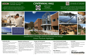 CENTENNIAL HALL LEED Gold Certified
