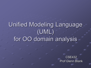 Unified Modeling Language (UML) for OO domain analysis CSE432