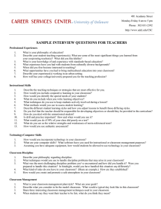 SAMPLE INTERVIEW QUESTIONS FOR TEACHERS