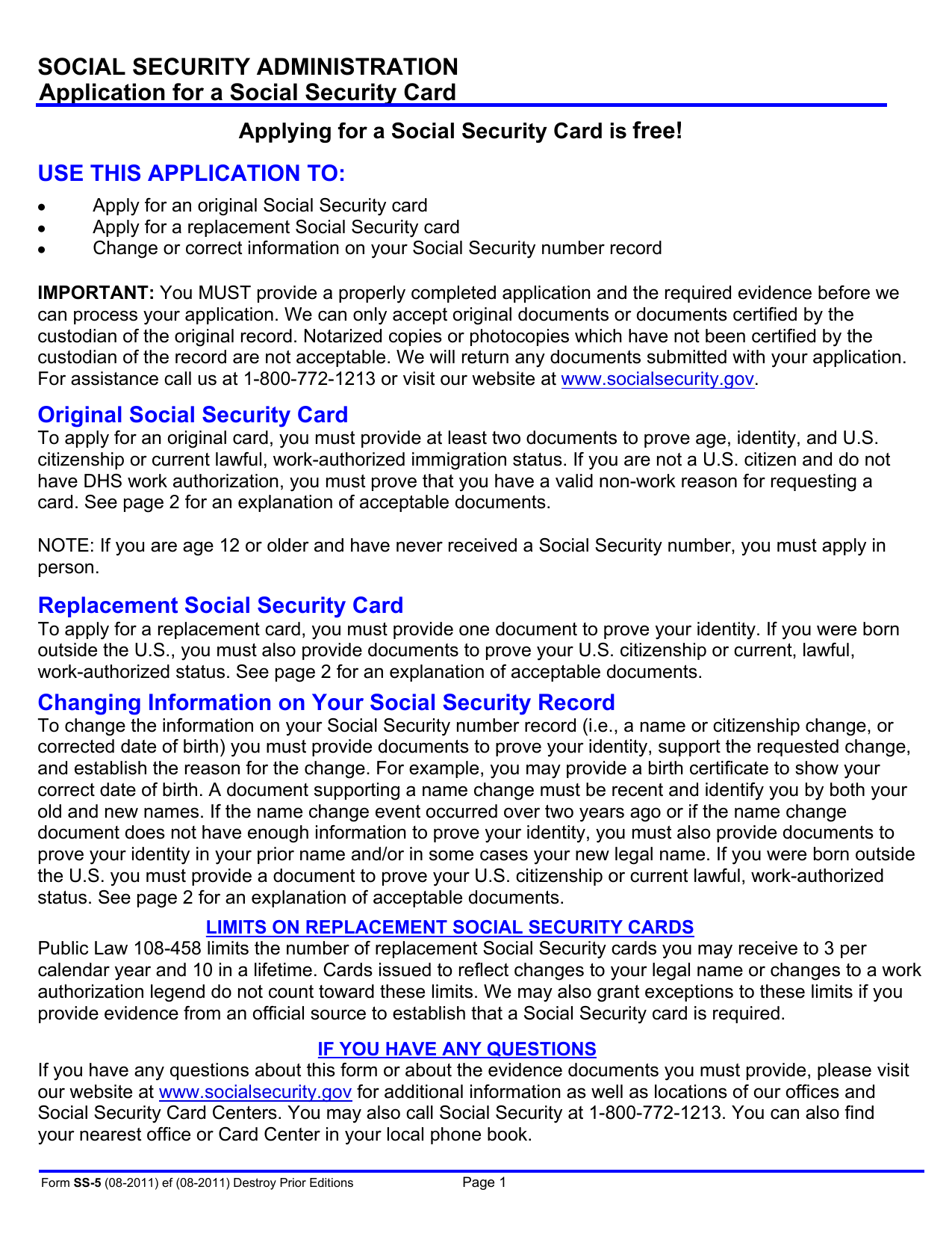 Social Security Administration Application For A Social Security Card Free!