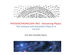 PHY1033C/HIS3931/IDH 3931 : Discovering Physics:  Fall 2015