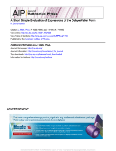 A Short Simple Evaluation of Expressions of the DebyeWaller Form