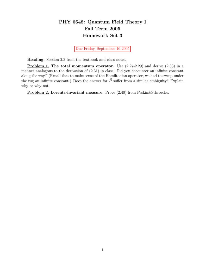 qft homework solutions