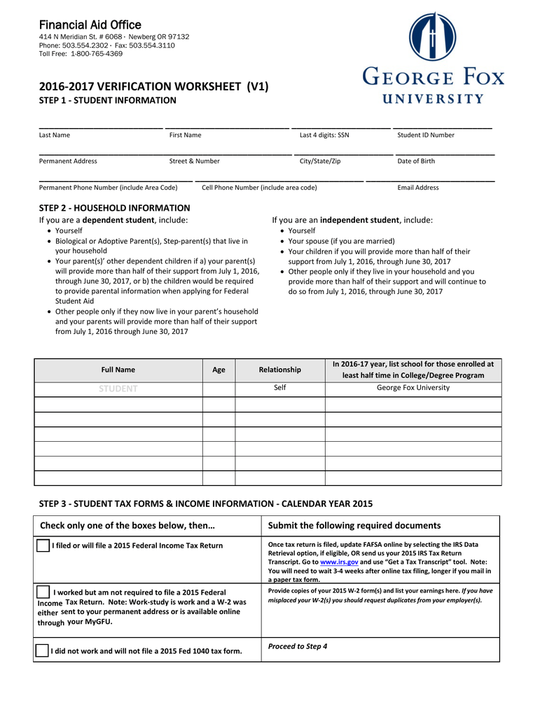 Worksheets Fafsa Verification Worksheet 2016 2017 verification worksheet v1 financial aid office