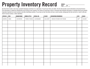 Property Inventory Record
