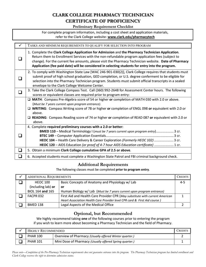 Clark College Pharmacy Technician Certificate Of Proficiency