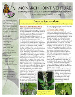 MONARCH  JOINT  VENTURE Invasive Species Alert: