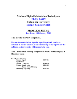 Modern Digital Modulation Techniques Columbia University PROBLEM SET # 3