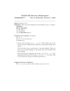 MATH 302 Discrete Mathematics Assignment 1. Due on Wednesday, February 3, 2016