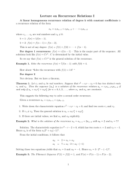 Lecture on Recurrence Relations I