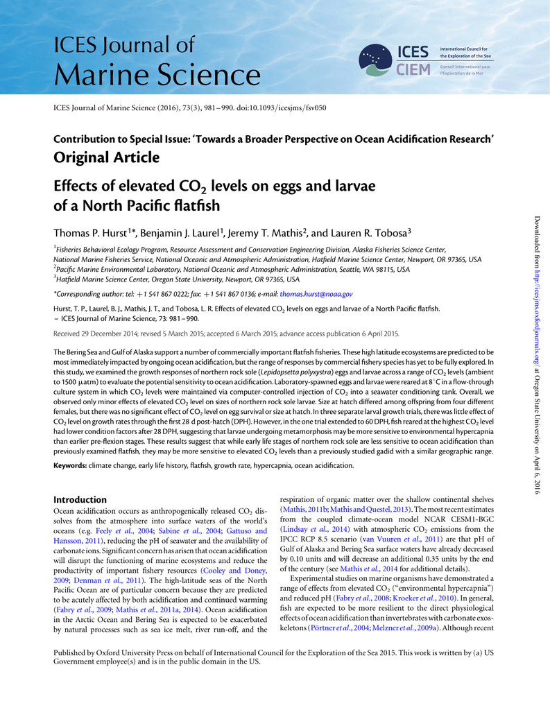 ocean acidification research paper