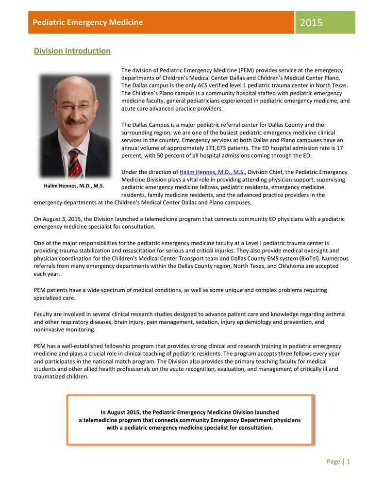2015 Pediatric Emergency Medicine Division Introduction