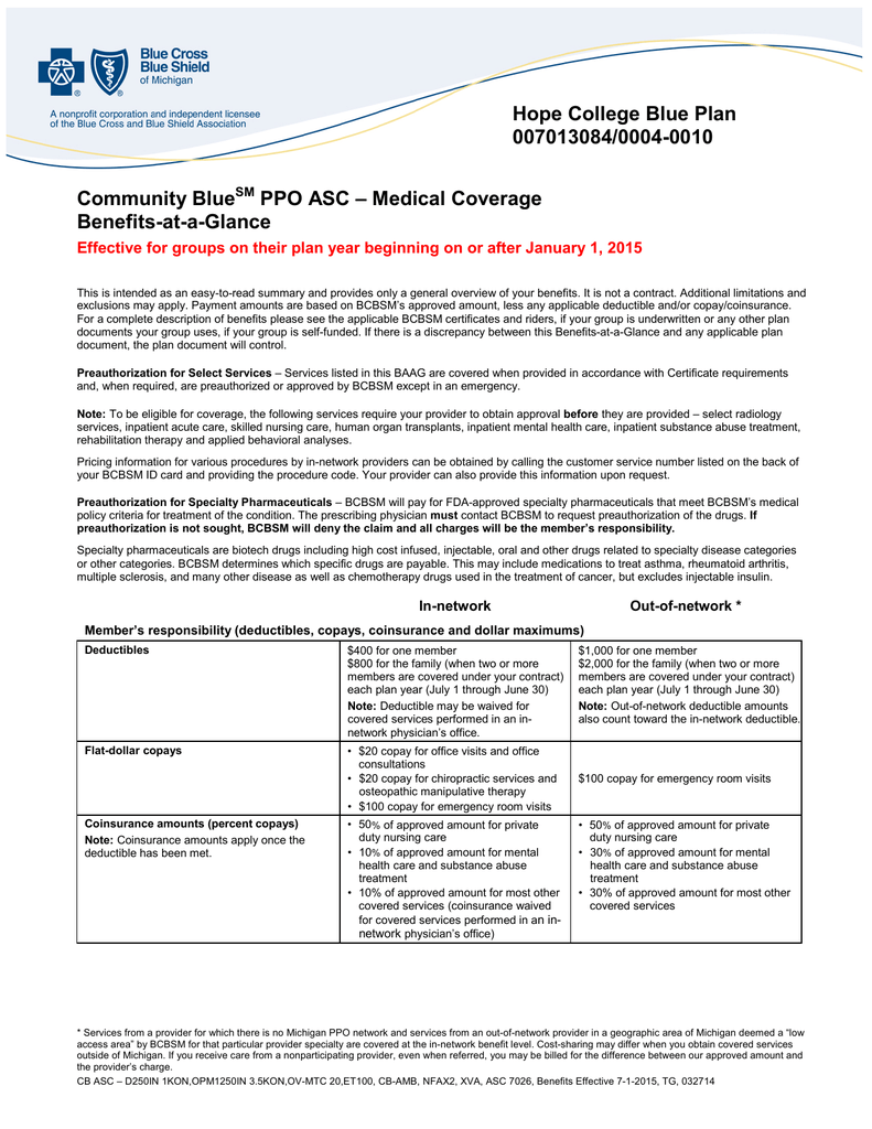 Community Blue Ppo Asc Medical Coverage Benefits At A Glance