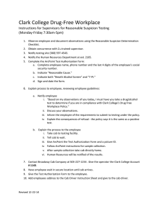 Clark College Drug-Free Workplace Instructions for Supervisors for Reasonable Suspicion Testing