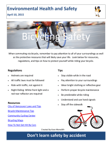 Bicycling Safety Environmental Health and Safety April 10, 2015