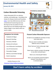 Environmental Health and Safety Carbon Monoxide Poisoning