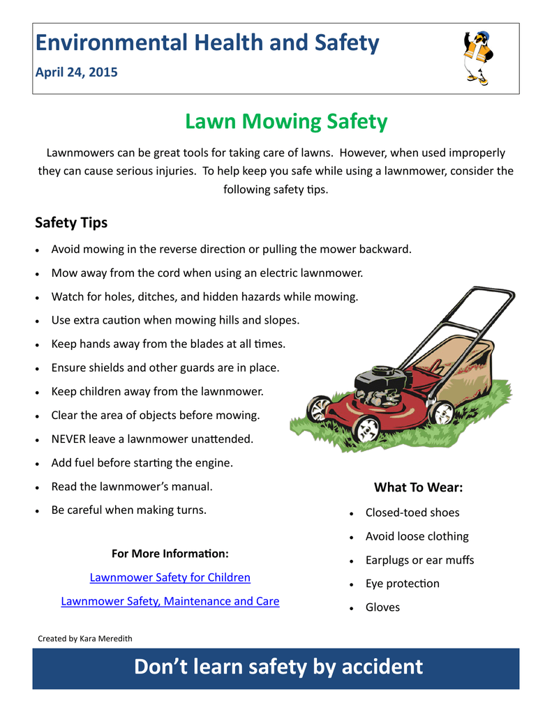 Environmental Health and Safety Lawn Mowing Safety