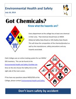 Got Chemicals? Environmental Health and Safety Know what the hazards are?