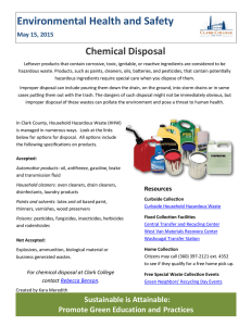 Environmental Health and Safety Chemical Disposal May 15, 2015