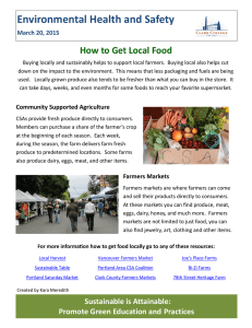 Environmental Health and Safety How to Get Local Food