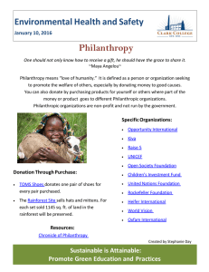 Philanthropy  Environmental Health and Safety January 10, 2016