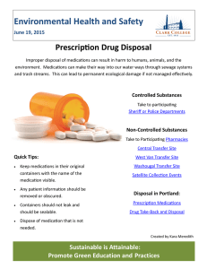Environmental Health and Safety Prescription Drug Disposal June 19, 2015