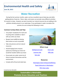 Environmental Health and Safety Water Recreation June 26, 2015