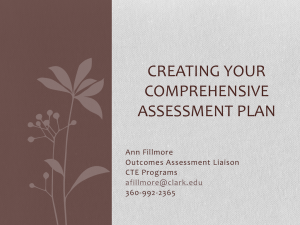 CREATING YOUR COMPREHENSIVE ASSESSMENT PLAN Ann Fillmore