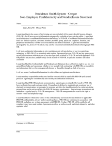 Providence Health System - Oregon Non-Employee Confidentiality and Nondisclosure Statement
