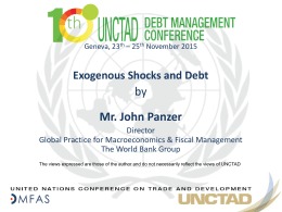 by Mr. John Panzer Exogenous Shocks and Debt