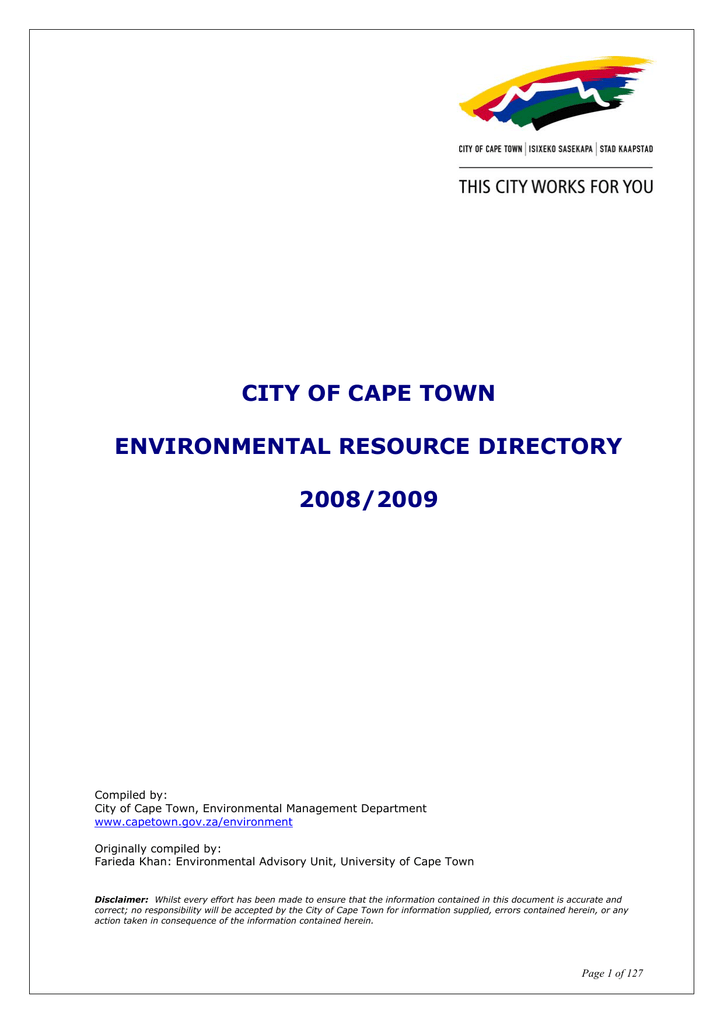 City Of Cape Town Environmental Resource Directory 20082009